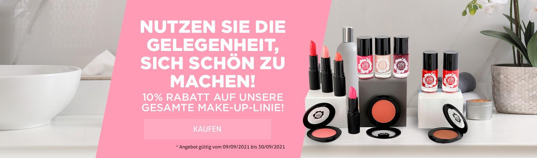 10% RABATT auf unsere Make-up-Linie!